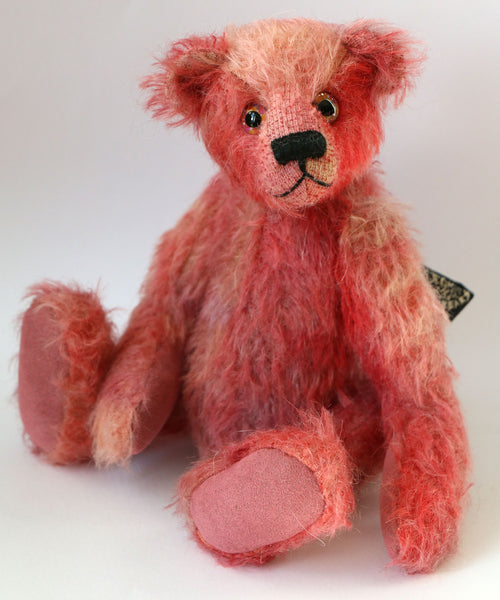 Charlie is a very friendly and sweet, little traditional teddy bear made from fabulous hand dyed mohair in warm colours by Barbara Ann Bears Charlie is 8 inches (20cm) tall and is 6 inches (15cm) sitting.