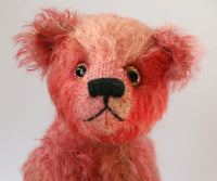 Charlie is a very sweet, traditional teddy bear in hand-dyed German mohair by Barbara Ann Bears
