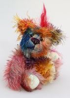 Charlie Chuffle is an extremely lovable, sweet and happy one of a kind artist bear made from beautiful hand dyed mohair by Barbara Ann Bears Charlie Chuffle stands just 8 inches (20 cm) tall and is 6 inches (15cm) sitting, this doesn't include his beautiful red mohawk which adds a further 2.5 inches (7cm)