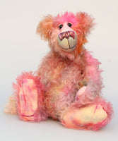 Clarence is a gentle, elegant and delicately colourful, one of a kind, hand dyed mohair, shaggy artist bear by Barbara-Ann Bears