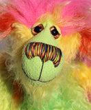 Cora B.Limey is wildly colourful and happy, one of a kind, hand dyed mohair, artist bear by Barbara-Ann Bears, a bear of tropical exuberance Cora B.Limey stands 14.5 inches( 37 cm) tall and is 11.5 inches (29 cm) sitting, this doesn't include her shock of hair which adds another 3 inches (7.5 cm) to those figures.