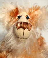 Donaghue, a very handsome and cuddly, beautifully coloured, one of a kind, teddy bear by Barbara-Ann Bears in wonderful batik mohair, Donaghue stands 14 inches (35.5 cm) tall and is 10.5 inches (27 cm) sitting.