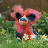 Douggie Dingle is a wild and wonderful bear, full of colourful happiness, a one of a kind, mohair artist teddy bear by Barbara-Ann Bears  Douggie Dingle is a very happy bear, he loves springtime, to be out smelling the flowers and just enjoying the fresh air and warm sunshine.