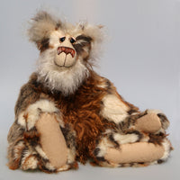 Pepe La Peluche is a big, stunning, wild and wonderful, one of a kind, artist teddy bear in gorgeous faux fur & mohair by Barbara-Ann Bears. Pepe La Peluche stands 18 inches (46 cm) tall and is 14.5 inches (37 cm) sitting.