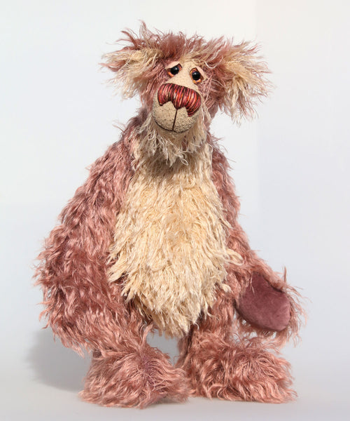 Earnest Strimdumple is a very friendly and jovial bear with a huge smile, a one of a kind, artist teddy bear by Barbara-Ann Bears in wonderful straggly mohair