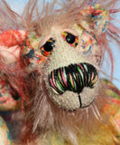 Elsie is a sweet and dinky, one of a kind, artist bear in beautiful printed fabric and hand dyed mohair by Barbara-Ann Bears. Elsie stands just 6 inches (15 cm) tall and is 4.5 inches (11 cm) sitting. Elsie is mostly made from a beautiful, cotton fabric that is printed with a stylised version of Monet's garden in Giverny