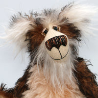 Emerson Toot is a charming and elegant, one of a kind, artist bear by Barbara-Ann Bears in wonderful fluffy tipped mohair