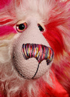 Ethel Snugglepuss, is a very sweet and gentle, one of a kind, artist bear by Barbara-Ann Bears in gorgeous mohair and beautiful faux fur.  Ethel stands 17.5 inches (38 cm) tall and is 13 inches (30 cm) sitting and is made from soft stripy faux pink, red and cream faux fur and long fluffy cream and red mohair.