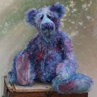 Ezra is an elegant, charming and handsome, one of a kind, artist bear by Barbara-Ann Bears in wonderful hand-dyed mohair like twilight. Ezra stands 16 inches (41 cm) tall and is 12 inches (30 cm) sitting. Ezra is a very handsome bear, made from the most beautiful mohair and with a twinkle in his eye