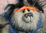 Fast Freddie Fuzzface is a wild, freakishly fast and surprisingly friendly, one of a kind, mohair, artist,  biker bear by Barbara-Ann Bears Fast Freddie Fuzzface is 11.5 inches (29 cm) tall sitting on his bike, sitting without a bike he is 10 inches (25 cm) tall and his bike is 14.5 inches (36 cm) long. Fast Freddie Fuzzface is a wild and unruly chap, a biker who loves nothing more than to spend days out on the open road