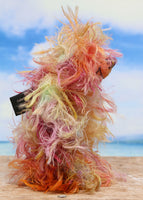 Felix Frizzle-Frazzle is a wild and scruffy bear in a mixture of beautiful natural colours, he is quite a little bear, he stands just 6.5 inches( 17 cm) tall and is 5 inches ( 13 cm) sitting. Felix is mostly made from a very long, frizzy and wildly fluffy mohair hand dyed in many natural shades