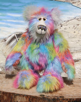 Festive Freda is a wonderfully colourful and cuddly, one of a kind, artist teddy bear in gorgeous faux fur and mohair by Barbara-Ann Bears, she's 19 inches (47 cm) tall and is 14.5 inches (37 cm) sitting.  Festive Freda is made from a long, soft, dense faux fur in turquoise, pale blue, yellow, orange magenta and lilac