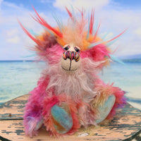 Filibert is a very happy and sweet teddy bear, a colourful, one of a kind, hand-dyed mohair and faux fur artist bear by Barbara-Ann Bears.