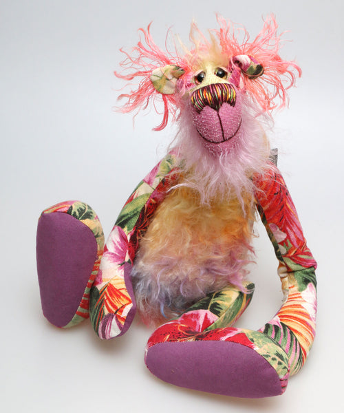 Flora Flamingo, a floral teddy fantasy, a one of a kind artist bear in hand dyed mohair and upcycled designer fabric by Barbara Ann Bears, she stands 16.5 inches( 42 cm) tall and is 12 inches (30 cm) sitting.