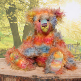 Francesco, a very handsome & colourful, traditional, one of a kind, mohair artist teddy bear,  by Barbara Ann Bears, he stands 17.5 inches (45cm) tall and is 12.5 inches (32cm) sitting. Francesco is made from long distressed mohair which Barbara has hand-dyed in bands of beautiful colours; blue, orange, yellow and pink