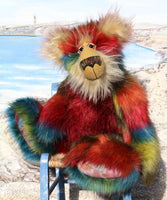 Francesco is an impressive and beautifully coloured, one of a kind, artist bear by Barbara-Ann Bears in luxurious fluffy faux fur and mohair Francesco is a magnificent teddy bear, he stands 24 inches (61 cm) tall and is 18 inches (46 cm) sitting. Francesco is a beautifully coloured teddy bear, he's like a big Christmas jumper ready to hug you and keep you warm through the long, cold nights of winter