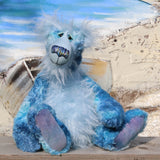 Frank Fairweather is a fabulous and charismatic, one of a kind, artist teddy bear by Barbara-Ann Bears, he is 20.5 inches (52 cm) tall and is 15.5 inches (39 cm) sitting. Frank Fairweather is mostly made from a dense, slightly distressed mohair which Barbara has hand dyed in many shades of the most beautiful blues.