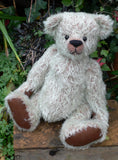 The Frederick Teddy Bear pattern makes a sweet traditional Barbara-Ann Bear about 15 inches (38cm) tall. This one in minty ratinee mohair