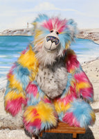 Frizzante is a magnificent, colourful and joyful, one of a kind, artist bear by Barbara-Ann Bears in luxurious fluffy mohair and faux fur Frizzante is an impressive and large teddy bear, he stands 21.5 inches (54 cm) tall and is 16 inches (40 cm) sitting, he's a big and heavy fellow