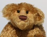Funky Frankie is a wild and groovy guy, a veteran mohair artist bear from Barbara-Ann Bears, he has amber glass eyes that match his mohair perfectly and a pert, chestnut coloured, meticulously embroidered nose.