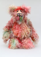 Garfunkel is a very happy and cuddly, one of a kind artist bear by Barbara-Ann Bears in gorgeous, shaggy, hand-dyed mohair Garfunkel stands 16 inches (40 cm) tall and is 12 inches (30 cm) sitting and made from a long, shaggy, tousled mohair, hand dyed in a gorgeous blend of reds, greens, golds, terracotta, jade, soft pinks and lilacs..