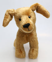 Goldie is a friendly and very well behaved one of a kind, artist teddy dog made in beautiful golden old English mohair by Barbara Ann Bears, she stands 10 inches( 25 cm) tall, she is 12 inches (31 cm) from nose to the base of her tail and she is 11 inches (28 cm) across the ears. 25 cm) tall