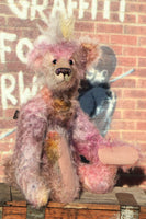 Griselda is both wild and cute, a gently colourful & loveable, one of a kind, hand dyed mohair artist bear by Barbara-Ann Bears