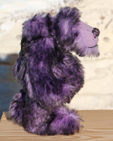 Griswald Grooch is a small, cute, slightly melancholy one of a kind artist teddy bear by Barbara-Ann Bears in beautiful tipped mohair  Griswald Grooch is quite a little bear, he stands just 8 inches( 20 cm) tall and is 6.5 inches ( 16 cm) sitting.