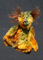Grunyan is a one of a kind, hand dyed mohair artist teddy bear by Barbara-Ann Bears