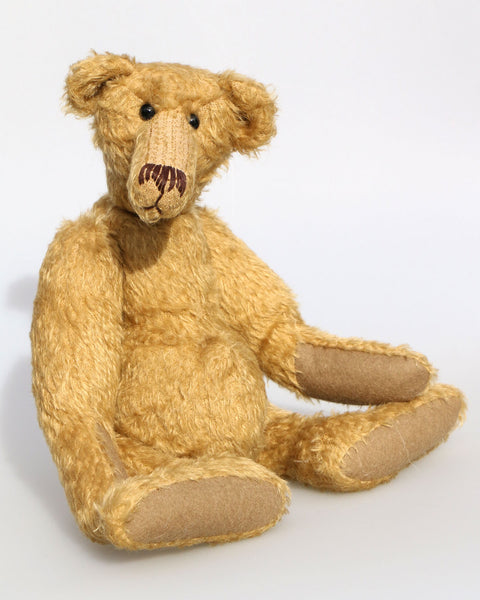 Hank PRINTED traditional jointed mohair teddy bear sewing