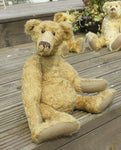 Hank PRINTED jointed mohair teddy bear sewing pattern to make a quirky Barbara-Ann Bear, with a long nose, big belly, long hands and feet. The Hank Teddy Bear pattern makes a curious, old-fashioned Barbara-Ann Bear, with a long nose