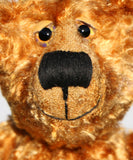 Happy Chappy is an exceedingly happy and friendly, limited edition, artist teddy bear made from vintage gold crushed velvet by Barbara-Bears