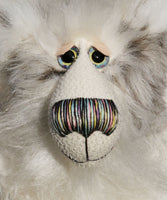 Henrik is a gentle, elegant and beautiful winter teddy bear, a one of a kind, mohair and faux fur, shaggy artist bear by Barbara-Ann Bears Henrik stands 15 inches (38 cm) tall and is 12 inches (30 cm) sitting. Henrik is a distinguished, quietly happy and very handsome bear, a bear of cool wintery colours