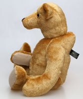 Hubert is quite a large, loveably eccentric, traditional one of a kind, artist teddy bear in splendid English mohair by Barbara Ann Bears, he is 19 inches (48cm) tall and is 13.5 inches (35cm) sitting.
