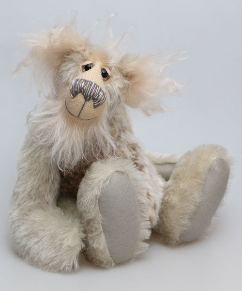 Isambard is a charming and very friendly, one of a kind, artist bear by Barbara-Ann Bears in a winter medley of wonderful mohair & faux fur, he stands 14.5 inches(37 cm) tall and is 10.5 inches (27 cm) sitting.
