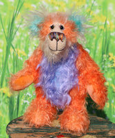 Jojo is a very happy and sweet teddy bear, a colourful, one of a kind, artist bear by Barbara-Ann Bears in beautiful hand-dyed mohair Jojo stands 9.5 inches( 24 cm) tall and is 7.5 inches ( 19 cm) sitting Jojo is a mixture of beautiful happy colours,  just the sort of colours you need to put a smile on your face