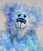 Joachim is a warm and handsome, one of a kind, artist bear by Barbara-Ann Bears in wonderful fluffy hand-dyed mohair like a blue summer sky. Joachim stands 11.5 inches (29 cm) tall and is 9 inches (23 cm) sitting.