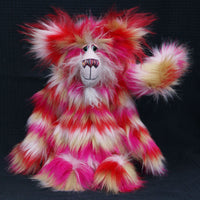 Katchmouski is a fantastically wild and kooky, one of a kind artist cat in gorgeous faux fur and the fluffiest mohair by Barbara Ann Bears Katchmouski stands 12.5 inches( 31 cm) tall and is 11 inches (27 cm) sitting, her curly tail would be about 13 inches (33 cm) long if it could be straightened out, but it's always going to be a curly tail, it was cut and sewn that way.