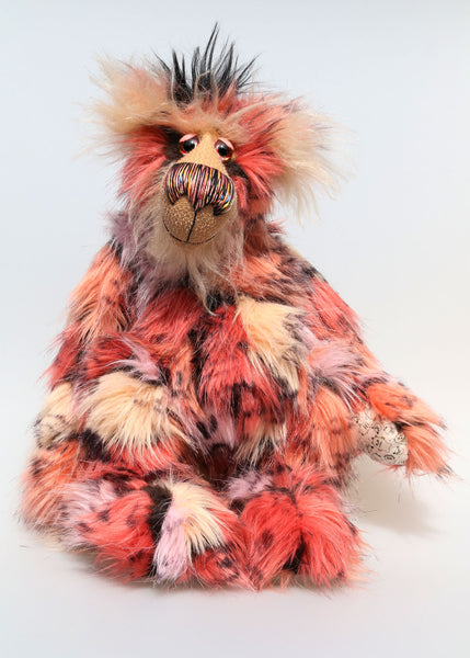 King Konk is an exotic, fun-loving and comical, one of a kind, artist bear by Barbara-Ann Bears in long mohair and rather wild faux fur. He stands 16 inches (40 cm) tall and is 12 inches (30 cm) sitting. King Konk is made from the most gorgeous and luxurious long faux fur, it looks like a patchwork but is one piece of fabric, areas of rose, cream, peach and pink are outlined in black