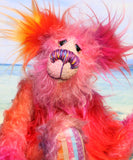 Kylie Calypso, a joyous celebration of colourful happiness, a one of a kind artist bear in hand dyed mohair & faux fur by Barbara-Ann Bears, Kylie Calypso stands 10 inches( 25 cm) tall and is 7.5 inches ( 19 cm) sitting. She's full of summertime sunshine that lasts all year long.