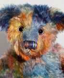 Laurie, a very handsome & subtly colourful, traditional, one of a kind artist teddy bear, in fabulous hand dyed mohair by Barbara Ann Bears Laurie is 15 inches (38cm) tall and is 10.5 inches (27cm) sitting. Laurie is a beautiful traditional bear, he is an elegant and handsome gentlebear with a very friendly personality.