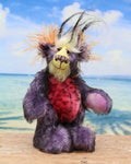 Lickle Pickle is a small, cute and very happy one of a kind mohair artist teddy bear by Barbara-Ann Bears Lickle Pickle is made from a black-tipped purple mohair, sunny yellow and soft orange mohair soft pink faux fur with black splodges and a soft white faux fur with long plumes of black faux fur sprout like fireworks