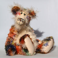 Major Heartthrob is a fabulous and romantic, one of a kind, artist teddy bear in gorgeous hand-dyed mohair by Barbara-Ann Bears. Major Heartthrob stands 19 inches (48 cm) tall and is 15 inches (38 cm) sitting.