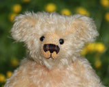 Makepeace PRINTED traditional jointed mohair teddy bear sewing pattern by Barbara-Ann Bears, Makepeace is a sweet, little, old-fashioned Barbara-Ann Bear. Makepeace is about 10.5 inches/27cm tall. We used the Makepeace design to make Marigold's Teddy Bear in the TV series Downton Abbey