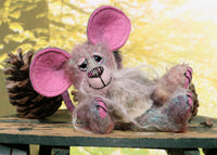 Malcolm is a comical, sweet and dinky, one of a kind, artist mouse with extraordinary ears in hand dyed mohair by Barbara-Ann Bears Malcolm stands just 5 inches (12.5 cm) tall and is 3.5 inches (9 cm) sitting, his tail is 5 inches (12.5 cm) long. Malcolm is a our first proper little mouse. He has a very sweet and happy character