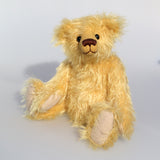 Marigold's Teddy a lovable sweet traditional artist teddy bear made from beautiful gold German mohair by Barbara-Ann Bears  Marigold's Teddy stands 11 inches (28cm) tall and is 8 inches (20cm) sitting.  Marigold's Teddy comes from the same design as we used to make Marigold's teddy bear for Downton Abbey