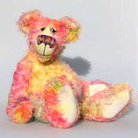 Matisse, a sweet and colourful, one of a kind, artist teddy bear in gorgeous hand dyed mohair by Barbara-Ann Bears Matisse stands 16.5 inches (42 cm) tall and is 12.5 inches (32 cm) sitting. Matisse is a splendid friendly bear of great character and charm. A bear of happy, summery colours and a love of wild overgrown gardens