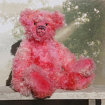 Maude is an elegant and impressive one of a kind traditional artist teddy bear by Barbara Ann Bears in beautiful hand dyed mohair Maude stands 23 inches (59 cm) tall and is 17 inches (43 cm) sitting, she's a substantial lady.  Maude is a large, elegant teddy bear made from the most gorgeous long and fluffy pink mohair