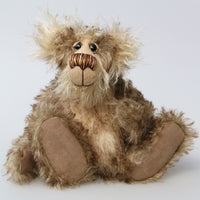 Mossy Mostyn is a charming and very friendly, one of a kind, artist bear by Barbara-Ann Bears in wonderful tipped mohair and faux fur. Mossy Mostyn stands 11 inches(28 cm) tall and is 8.5 inches (21 cm) sitting.