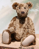 Maximilian is an elegant traditional one of a kind, artist teddy bear in beautiful soft brown English mohair by Barbara Ann Bears, he's 18.5 inches (47 cm) tall and is 14 inches (36 cm) sitting. Maximilian is made from beautiful soft brown English mohair with beige wool felt paw pads and gorgeous hand painted eyes